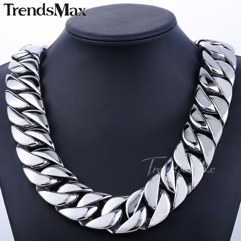 Trendsmax 31mm Super Heavy Curb Cuban Boys Mens Chain Silver Tone 316L Stainless Steel Necklace Custom Jewelry HN35 - Flagship Store store