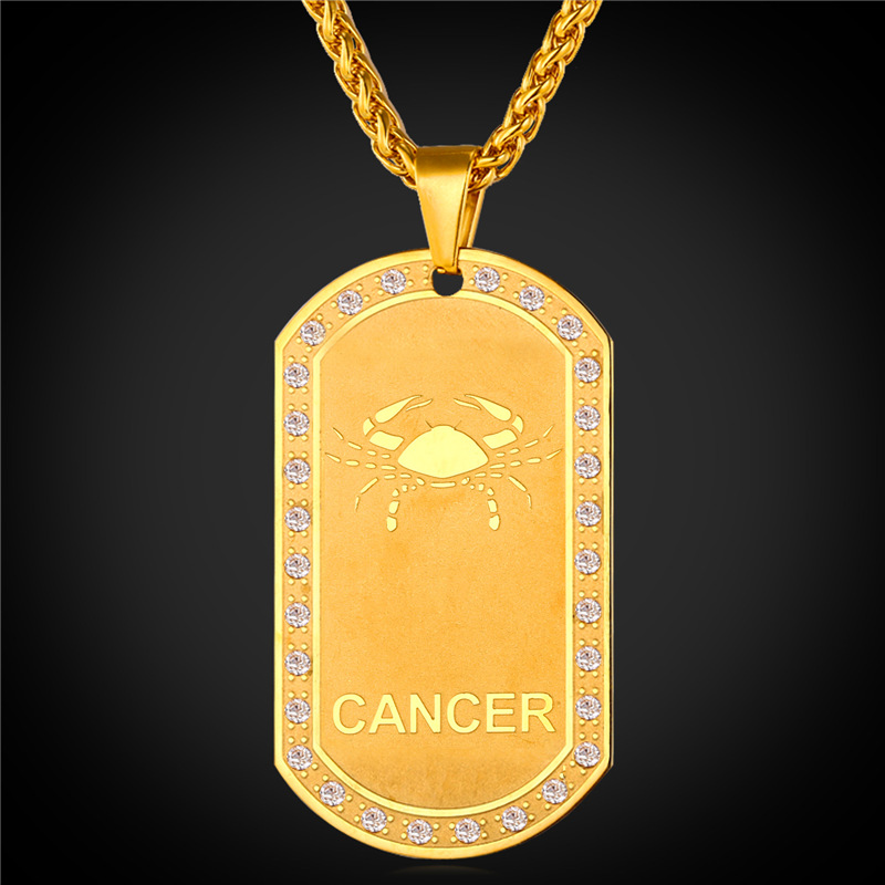 2016 Zodiac Charms CANCER Pendant Necklace Women Jewelry Gift Rhinestone 18K Real Gold Plated Necklace Dog Tags For Men P1824(China (Mainland))