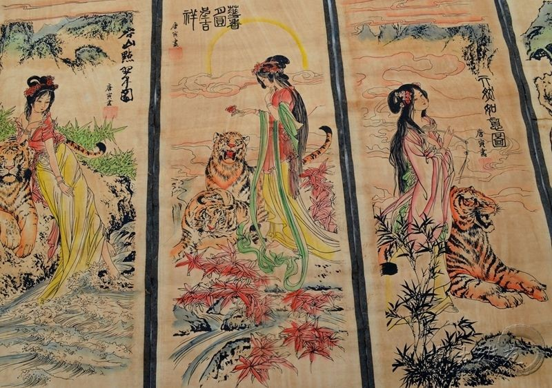 A Set Of 4Pcs,Exquisite Old Collection Scroll Chinese Painting calligraphy