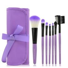 2015 HOT !! Professional 7 pcs Makeup Brush Set tools Make-up Sets Toiletry Kit Wool Brand Make Up Brush Set Case free shipping