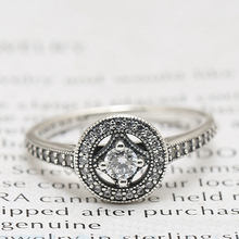 2016 New Collection Autumn Round Rings Style Authentic 925 Sterling Silver Vintage Allure Charm Ring With Clear CZ(China (Mainland))