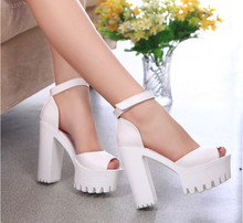 2016 New Fish Head Sandals women's summer shoes open toe sandals female thick heel platform high heels female sandals