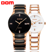 Dom watch classic vintage ceramic table trend fashion mens watch ladies watch lovers waterproof watch