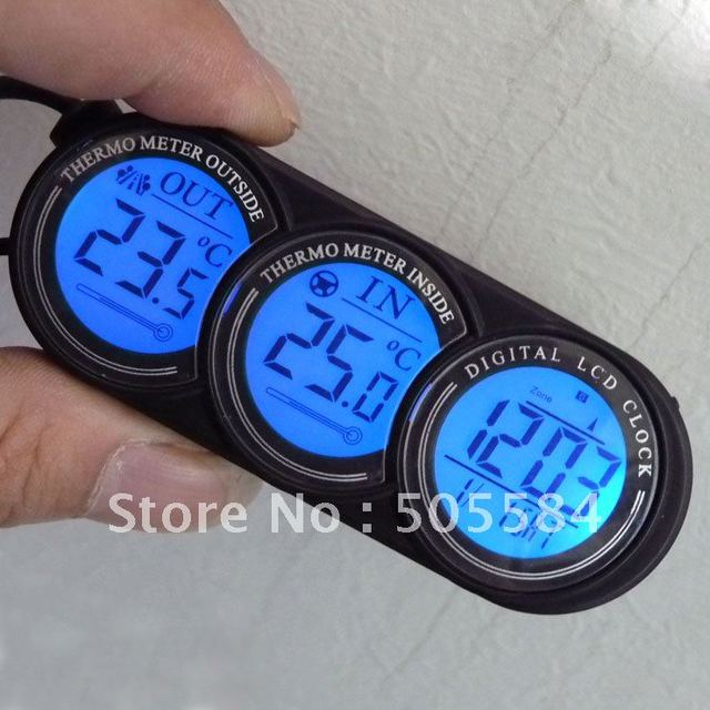 Car Dashboard decorative Thermometer Clock LCD Display