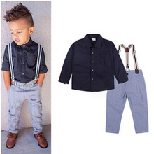 2015 Casual Boys Clothing Sets Boy Summer Cotton Long Sleeve Shirt + Strap Casual Trousers 2-Piece Set HOT(China (Mainland))