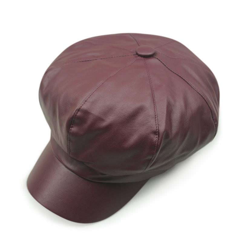 Leather Cabbie Hat Fashion Octagonal Cap Women Men Painters Hat Pu Leather Ladies Cap Burgundy Red Gray Brown Black(China (Mainland))
