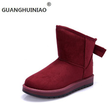 Bowknot es naked ladies botas de invierno para mantener los zapatos calientes de las mujeres con la moda y cómodos zapatos al aire libre(China (Mainland))