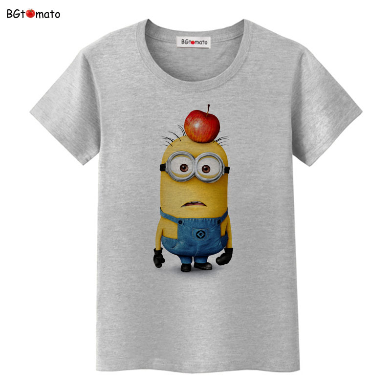 Bgtomato apple on minions head funny t shirt women famous for Successful t shirt brands