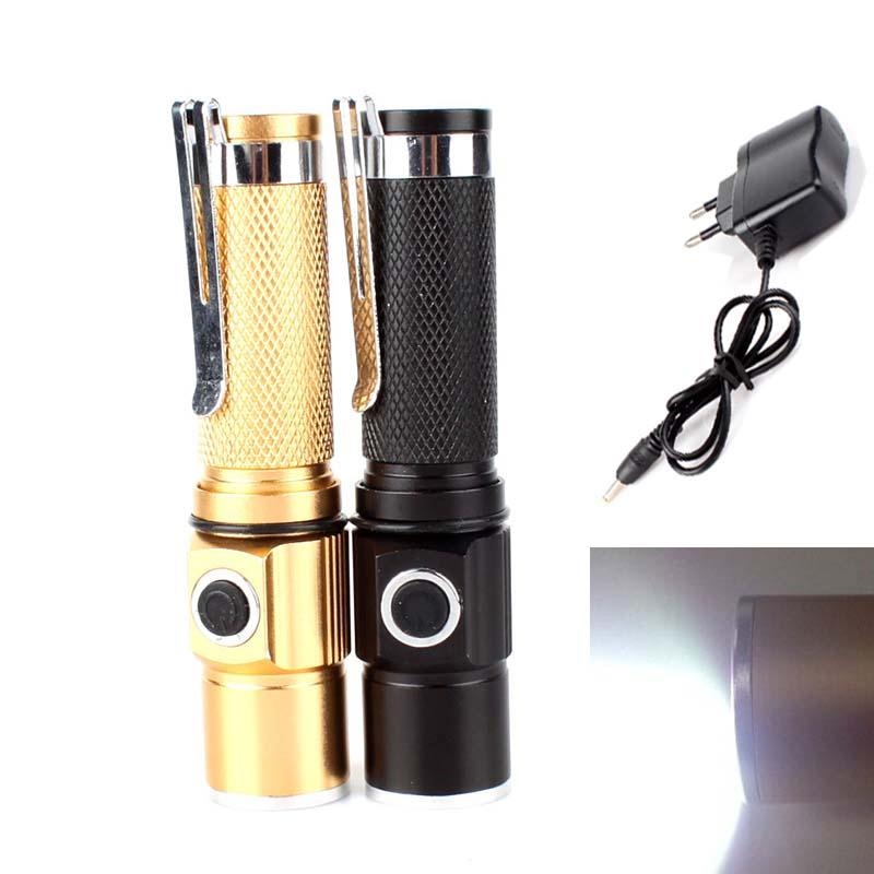 3 Modes CREE Q5 LED Flashlight Waterproof Rechargerable Torch W/ EU Charger #65784(China (Mainland))
