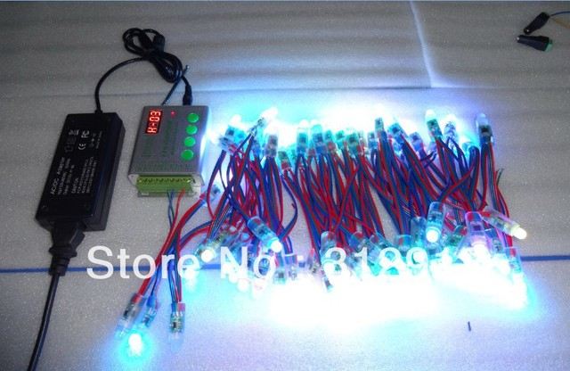 100pcs DC12V 12mm TM1829 pixel node+RF pixel controller+12V/4A power adaptor