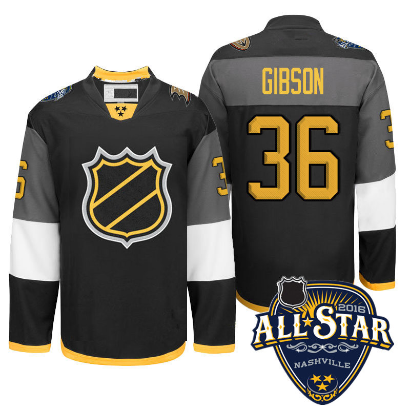 Newest! Mens Stitched  White #36 John Gibson Ice Hockey 2016 All Star Jersey Size M-XXXL with Anaheim Ducks   patch