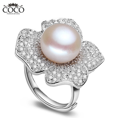 10mm Pearl Wedding Ring Pure 925 Sterling Silver Big Rings Natural Pearls With Zircon Bridal Bridesmaid Luxury Jewelry
