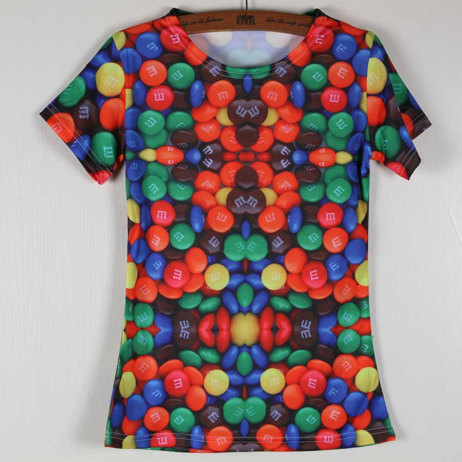 High Quality Graphic Tops For Women Short Sleeve Round Neck Candy Strawberry Tshirt Size S-XXXL(China (Mainland))