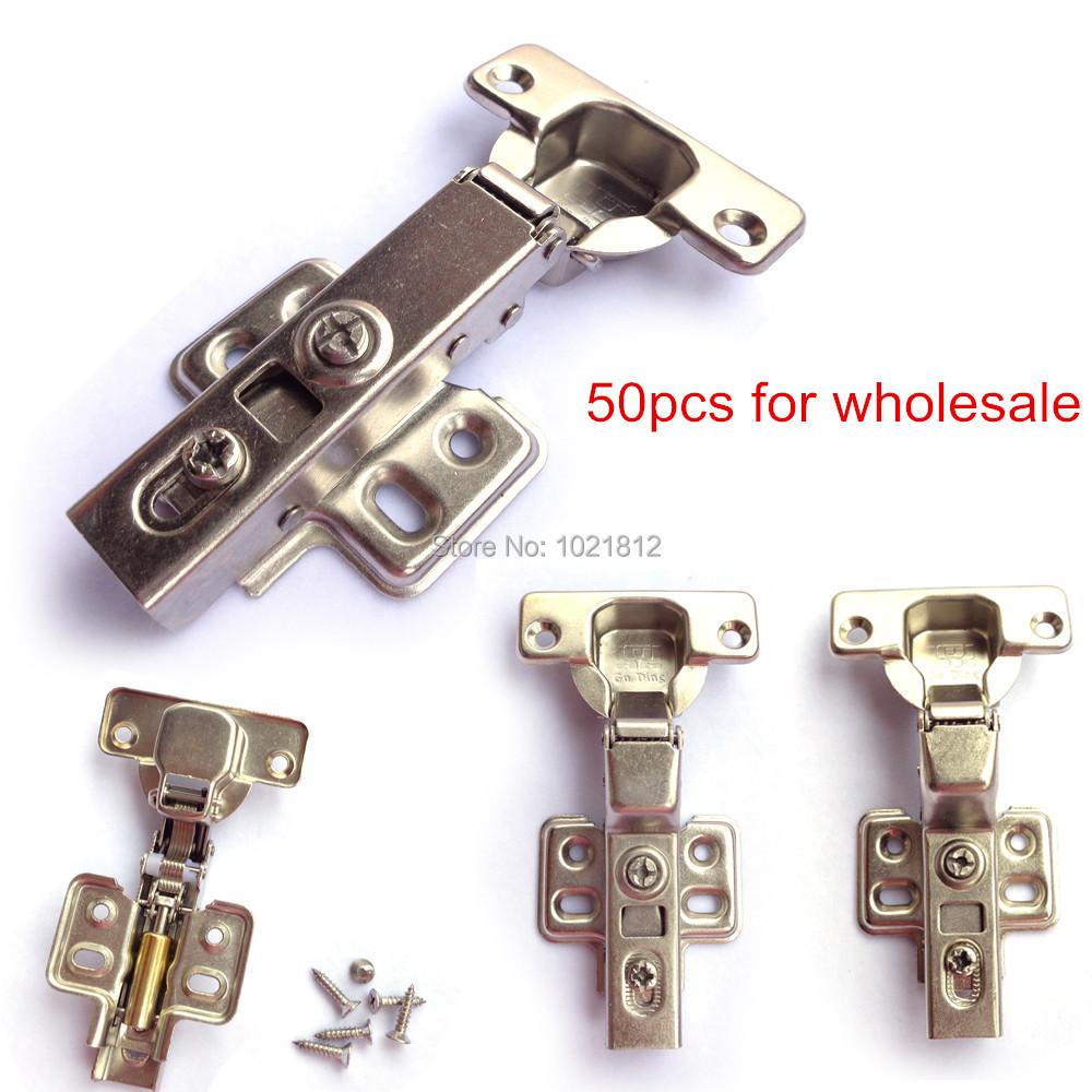 50pcs Hydraulic Cabinet Hinge Soft Close Brass Buffering Fixed Base Full/Half overlay/Inset(China (Mainland))