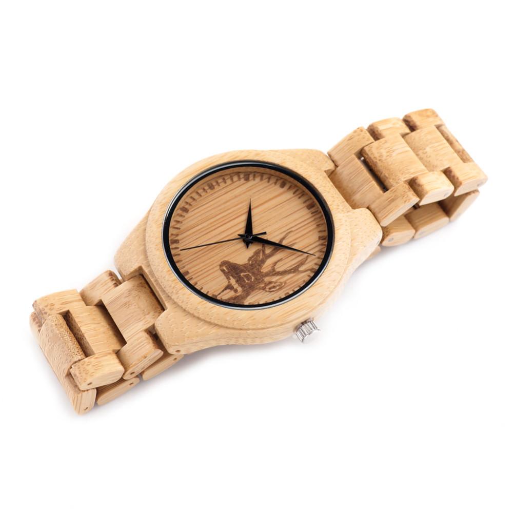 БОБО ПТИЦА Все Древесины Бамбука Часы Лучший Бренд Дизайнер мужской деревянные Часы Олень Дизайнер Кварцевые Часы для Мужчин Подарок коробка