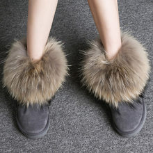 Frauen Stiefel Aus Echtem Leder Echt Fox Pelz Marke Winter Schuhe Warme Schwarz Runde Kappe Casual Plus Größe Weibliche Schnee Stiefel DE(China)