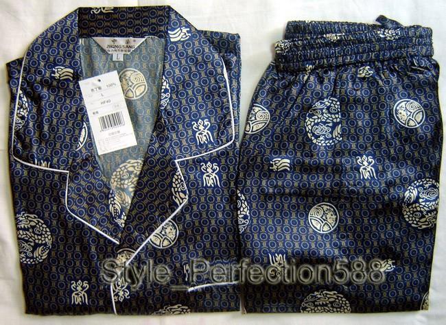 2PCS New Mens Silk Pajamas Long Sleeves Suit S,M,L,XL,XXL,3XL(China (Mainland))