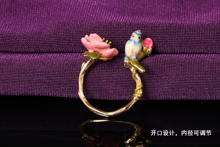 Les Nereides Blue Tit with flower and bud women adjustable ring size can be changed Free shipping(China (Mainland))