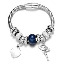 2016 Cute  Silver Big Beads Bracelets & Bangles Heart Angle Pendant Bracelets for Women High Quality Fine Jewelry(China (Mainland))