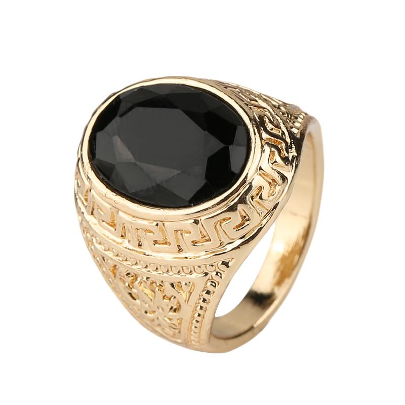 mens rings black precious stones real 18k gold ring for