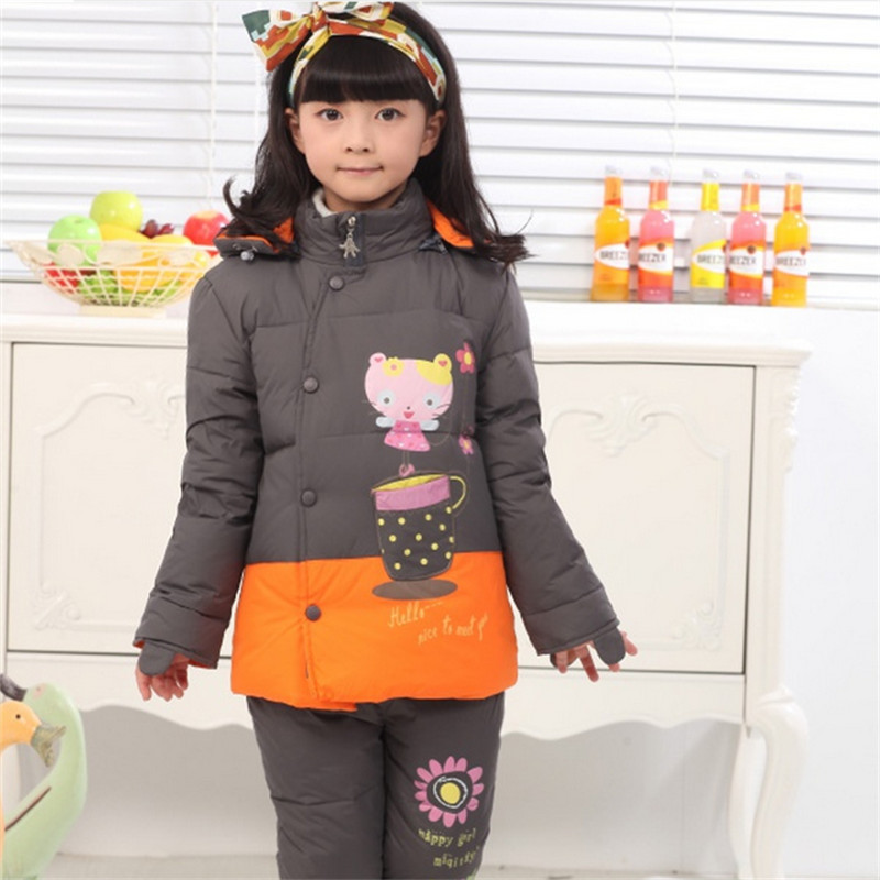 2014 baby girl warm winter outerwear retail kids rompers down jacket coats clothing sets , kid down &amp; parkas Suitable 2-5 years<br><br>Aliexpress