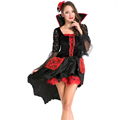 Gothic Evil Vampires Costume Sexy Adult Halloween Mesh Lace Splice Fancy Dress Devil Maleficent Witch Costume