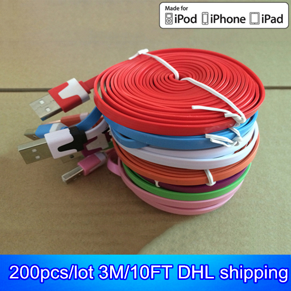 200pcs/lot 3M/10FT mix colors flat noodle usb data cable/cabo charger for iphone 5s 5c 5 6 plus ios 8.3 kable(China (Mainland))