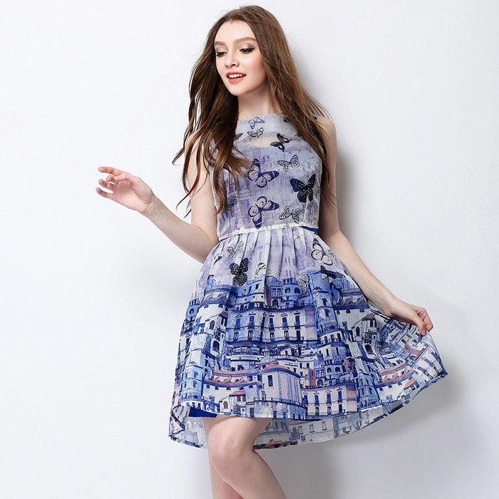 2015 Summer New style Europe and America Fashion Sleeveless Building digital slip dress Organza dress two-piece dress(China (Mainland))