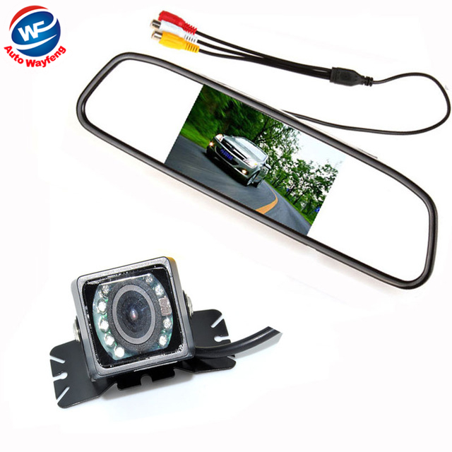 Car Auto Parking Camera Monitors System, IR Night Vision Rear View Camera With 4.3 inch LCD Car Mirror Monitor Camera WF(China (Mainland))