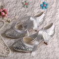 Wedopus Customized Ribbon Mary Jane Silver Glitter Wedding Shoes Party Chunky Heel