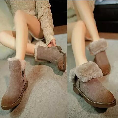 T9063 Women winter shoes Snow boots women flats heel warm plush inside ankle boots wool shoes mujer botas Femininas beige black(China (Mainland))