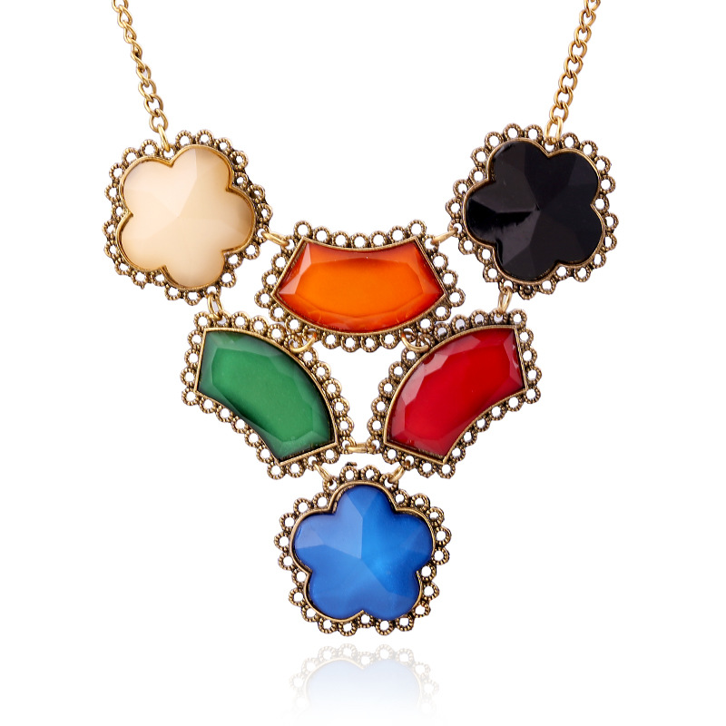 Hot Sale Brand Design Western Style Multi Color Pendants Resin Gold Flowers Necklace Jewelry