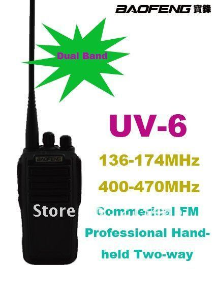 Good Quality Baofeng UV-6 VHF:136-174MHz & UHF:400-470MHz Commercial Handheld FM Professional Two-way Radio