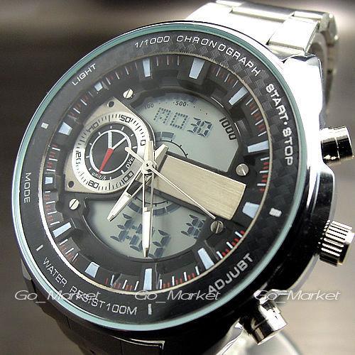 Новый стали ручной секундомер аналоговый и цифровой набора мужские часовка дата из светодиодов наручные часы роскошные наручные часы