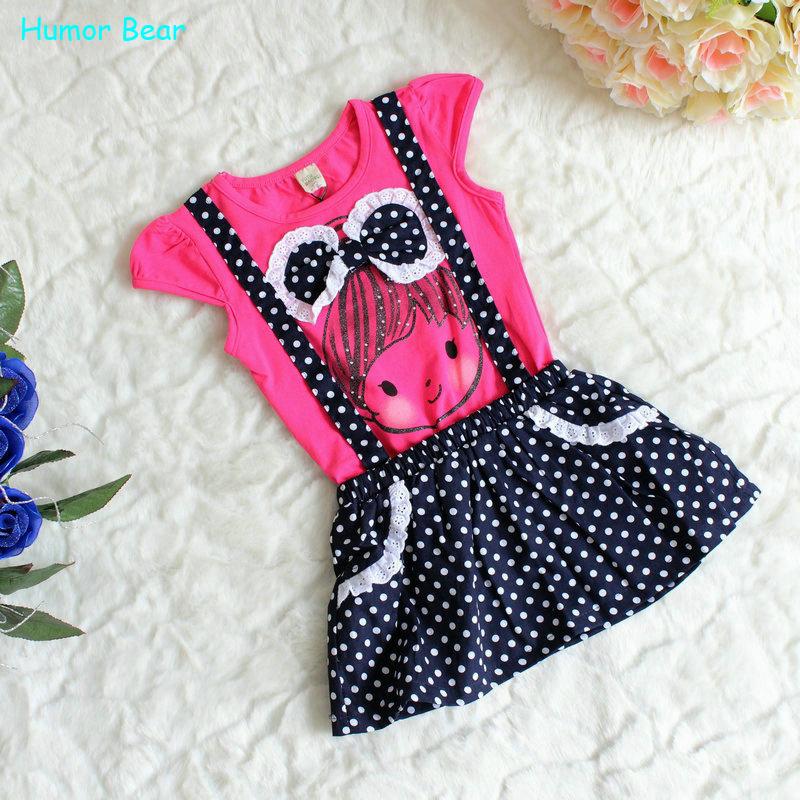 Гаджет  Free shipping 1pcs retail  short sleeves +Dot braces skirt cotton cute knee length princess casual girl dress  None Детские товары