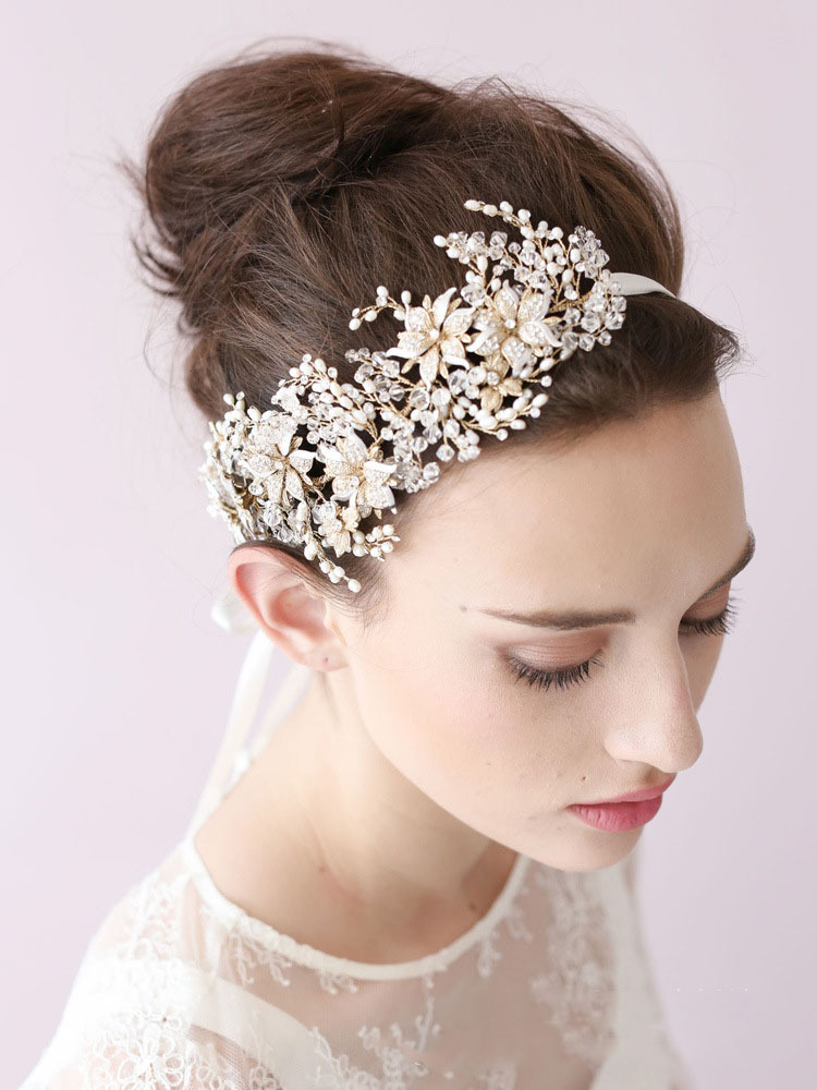 100% Handmade European and American Bride hoop heavy manual Pearl Crystal Diamond Flower Headband bride headdress ornaments#O026(China (Mainland))