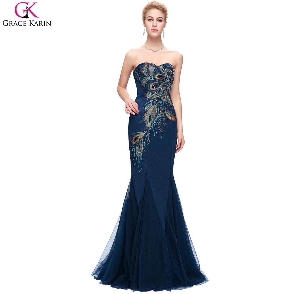 peacock dress navy blue mermaid gown grace karin sequin. Black Bedroom Furniture Sets. Home Design Ideas