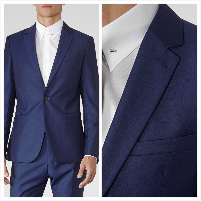 Slim-fit Bright Blue Groom's Wear Smoking Dinner jacket/Wedding Suits For Men/Best man's 3 Peices Suits(Jacket+Pants+shirt