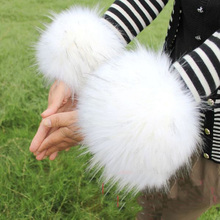 One Pairs of Female Fake Raccoon Fur Cuff Faux fox fur cuff boot covers thermal gloves hand ring wristiest multifunctional(China (Mainland))