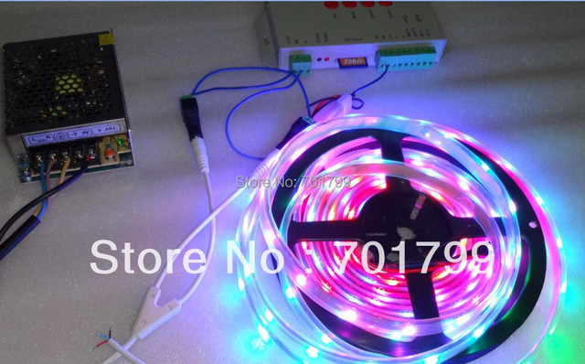 BLACK PCB 5m DC5V 30leds/m WS2812B led pixel srip,IP68 + T-1000S sd controller+ 5V/60W power supply