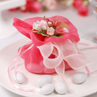 Elegant Organza Wedding Candy Pouch Artificial Flower,Gift Bag,Wedding Favors--Pink - Minling Favors store