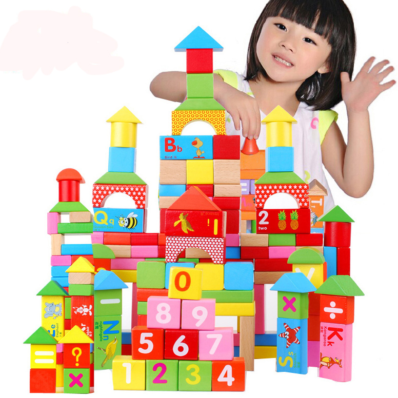 animal blocks Child 100 pieces large wooden toy educational toys bottled letter big - baby world store