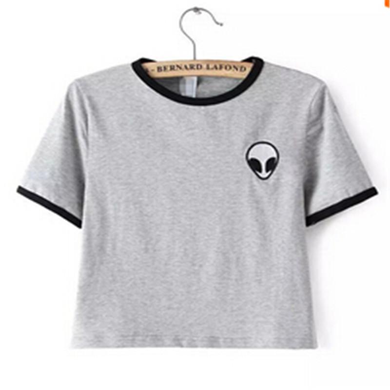 2015 New Arrive Women Summer Short Sleevel T shirt O-neck Tops Aliens Print Female Students T-shirts(China (Mainland))