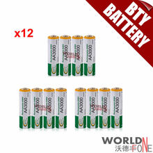 12xBTY AA  3000 Battery 1.2V Ni-MH Rechargeable Battery for LED Flashlight/Toy/PDA – B 12PCS/Lot (WF-RB032-20)
