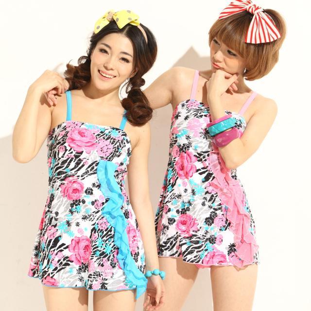 Female sexy bikini hot spring bikini swimwear one-piece dress size push up swimwear