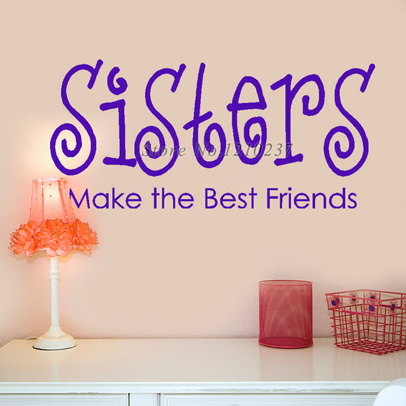 removable diy wall stickers sisters make the best friends flower butterfly monster wall paper decals removable