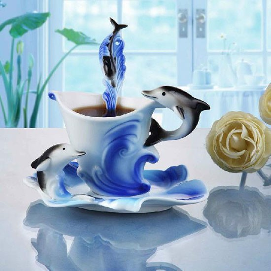 Creative Dolphins Coffee Cup Ceramic Tea Cup Drinking Mug Lovely Gift(China (Mainland))