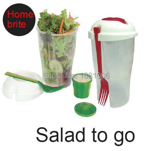 Salad To Go Cup ensaladera with fork&dressing bowl lunch box keeps salads fresh for fruit vegetable salad container tools K025(China (Mainland))