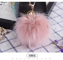 Multi Cor Bugiganga Keychain 11 cm Encantos Anel Chave Chaveiros De Pele Pompom Fofo Chaveiro Finding Para DIY Jóias K1674(China)