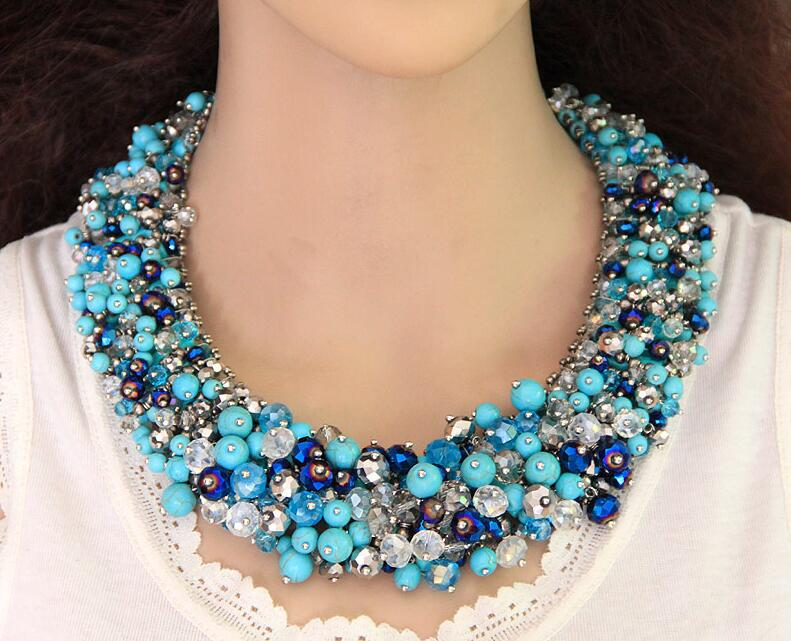 Buy Spx7013 Fashion Big Chunky Bohemian Crystal Necklace Crystal Beads Blue
